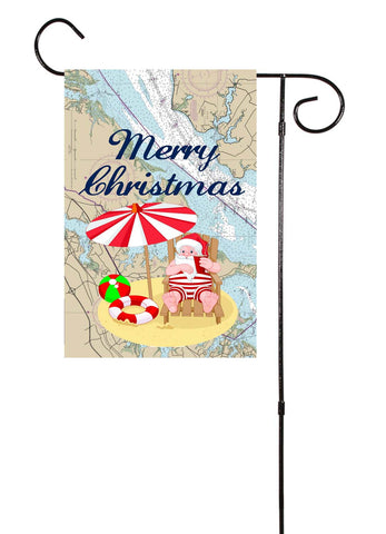 Santa On The Beach Nautical Garden Flag
