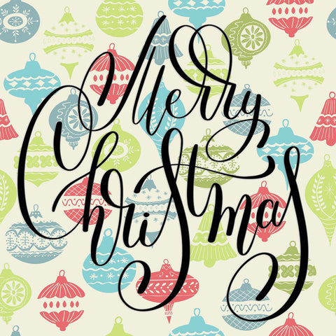 Merry Christmas Hand Lettering on Ornaments Background Vinyl Print