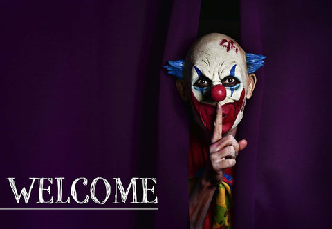 Copy of Scary Clown - Purple Welcome Mat