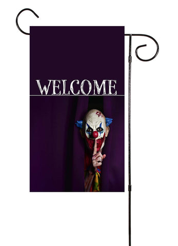 Scary Purple Clown - Welcome Halloween Garden Flag