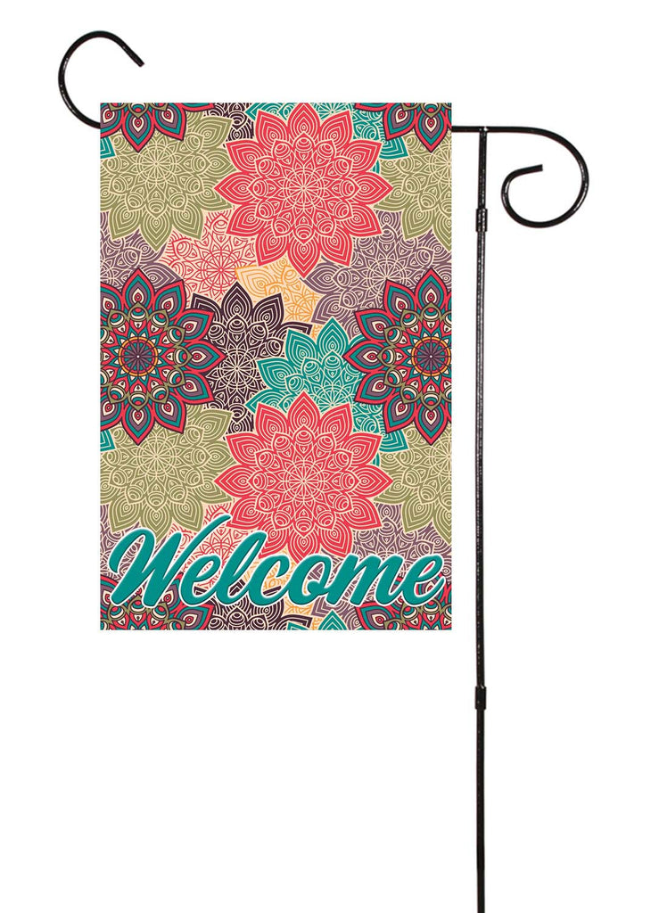 Colorful Floral Pattern Welcome Garden Flag