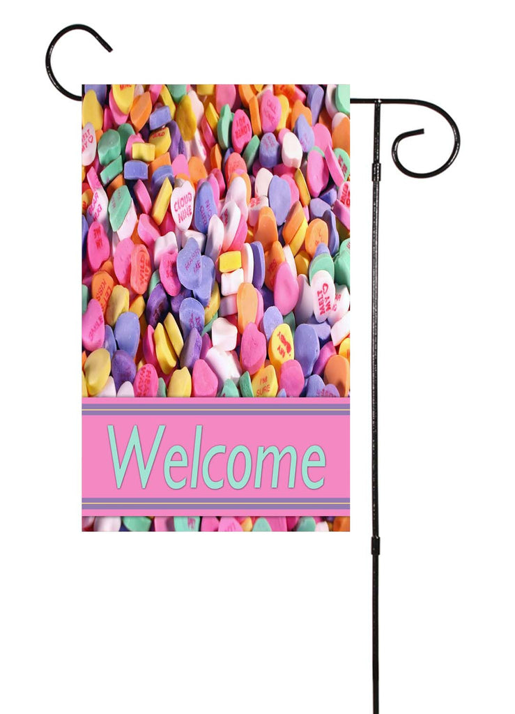 Conversation Hearts Garden Flag