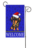 Dachshund Weiner Dog With Santa Hat Garden Flag