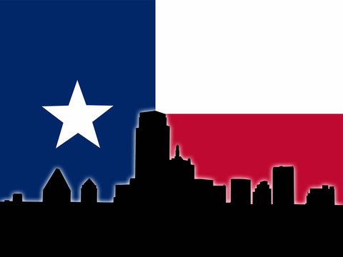 Dallas Skyline - Texas Flag Vinyl Print