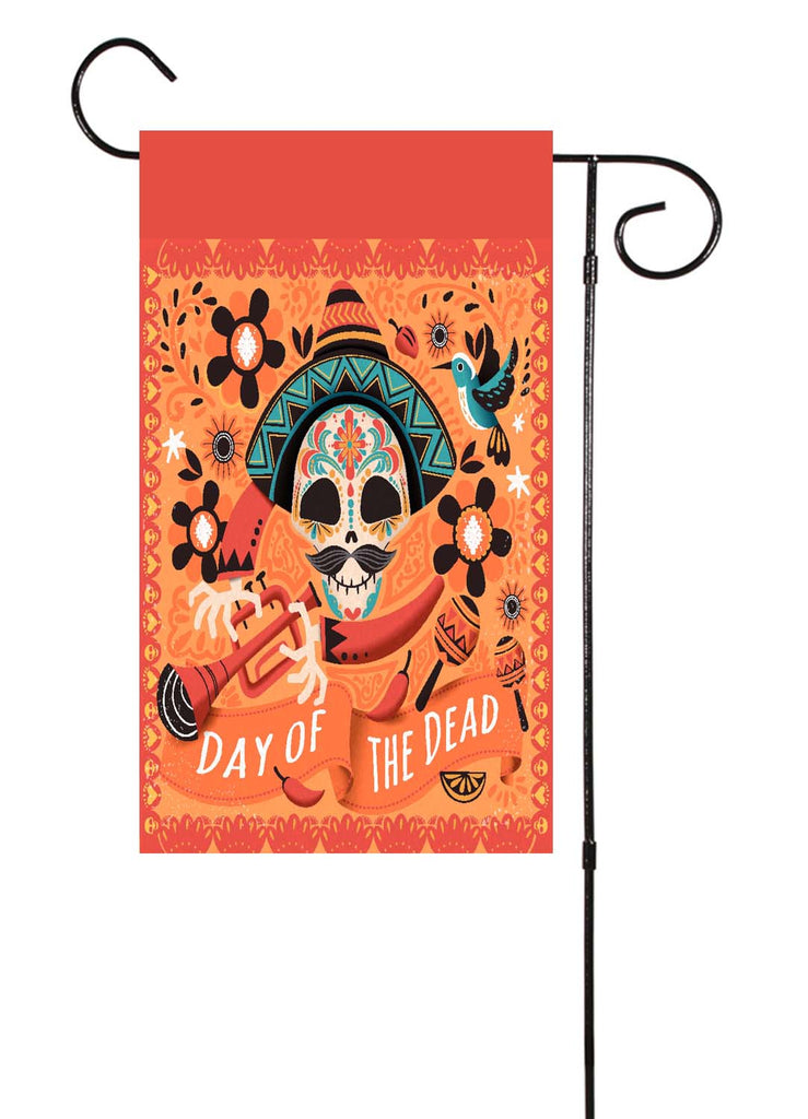 Coral Day Of The Dead Garden Flag