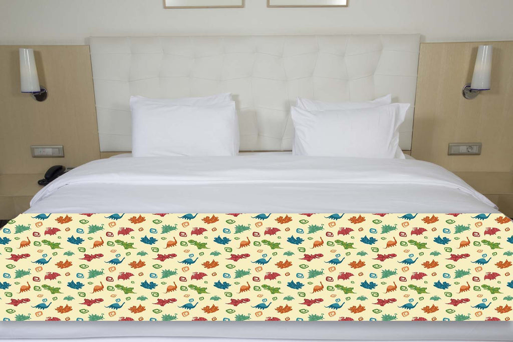 Colorful Dinosaurs Bed Runner