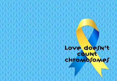 Down Syndrome Awareness Ribbon - Love Doesn't Count Chromosomes Welcome Mat