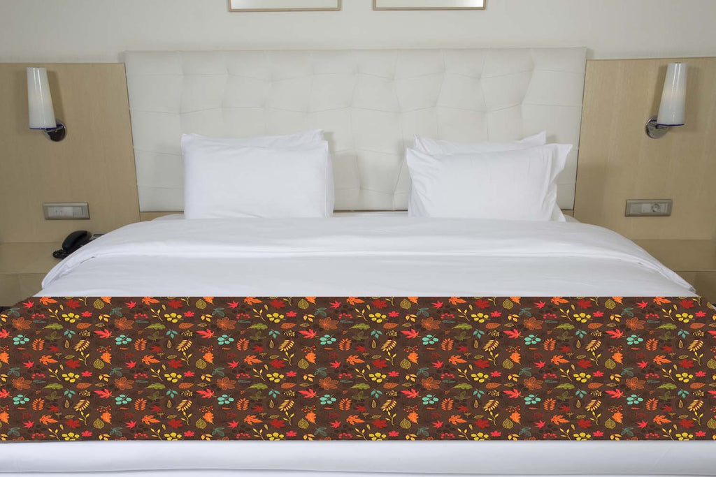 Fall Autumn Leaves Bed Runner Shut The Front Door By