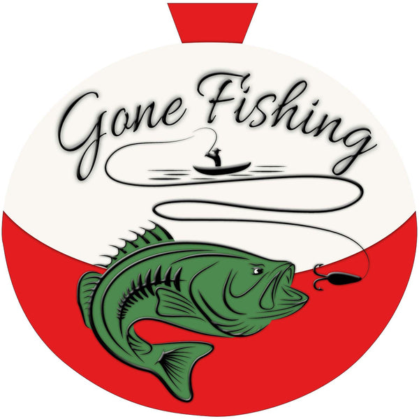 Gone Fishing Door Hanger Shut The Front Door By Unique