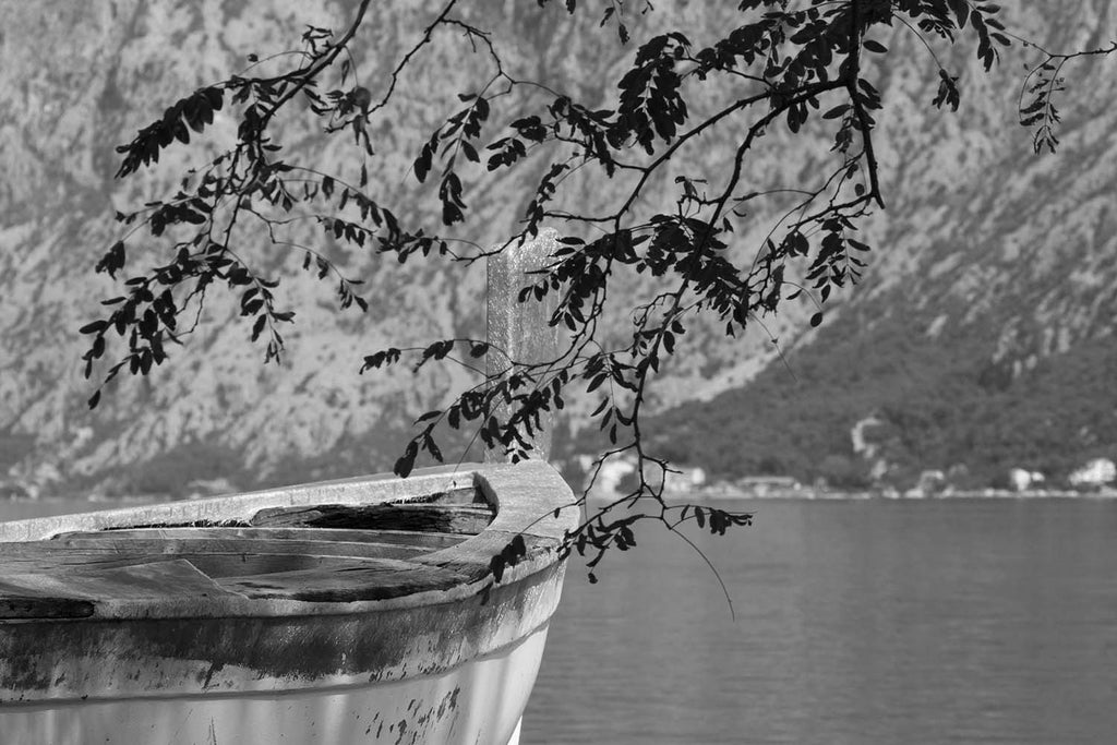 Fishing In The Mountains Black & White Vinyl Print