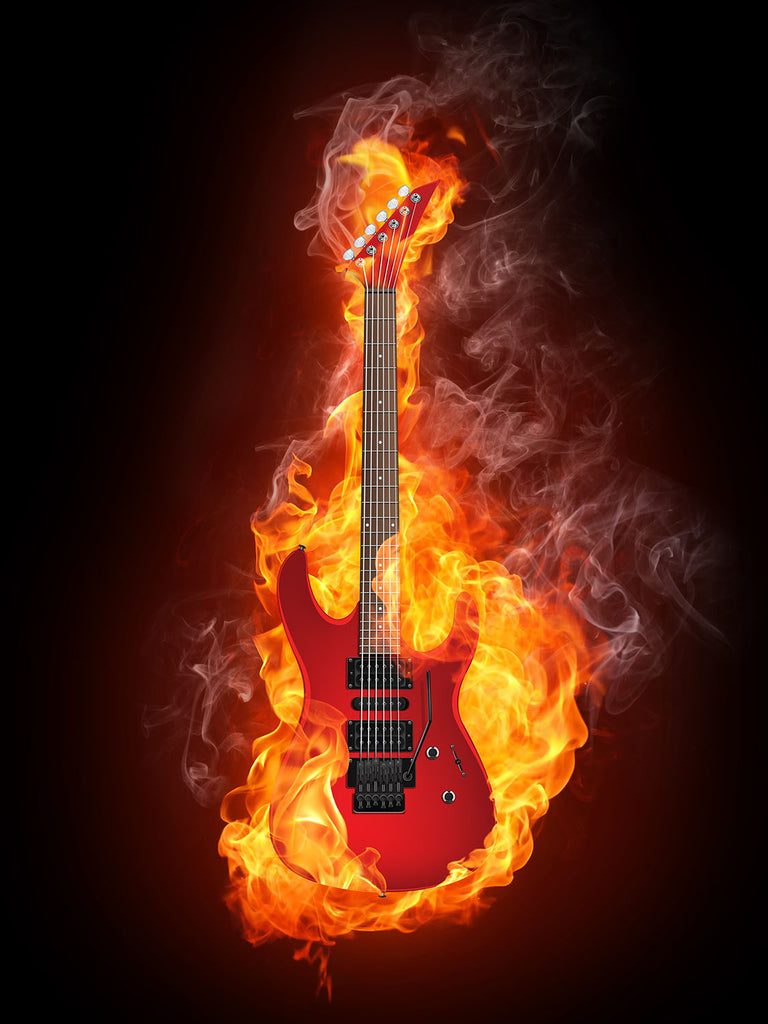 Flaming Guitar Vinyl Print