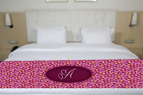 Purple & Pink Floral Initial Premium Bed Runner