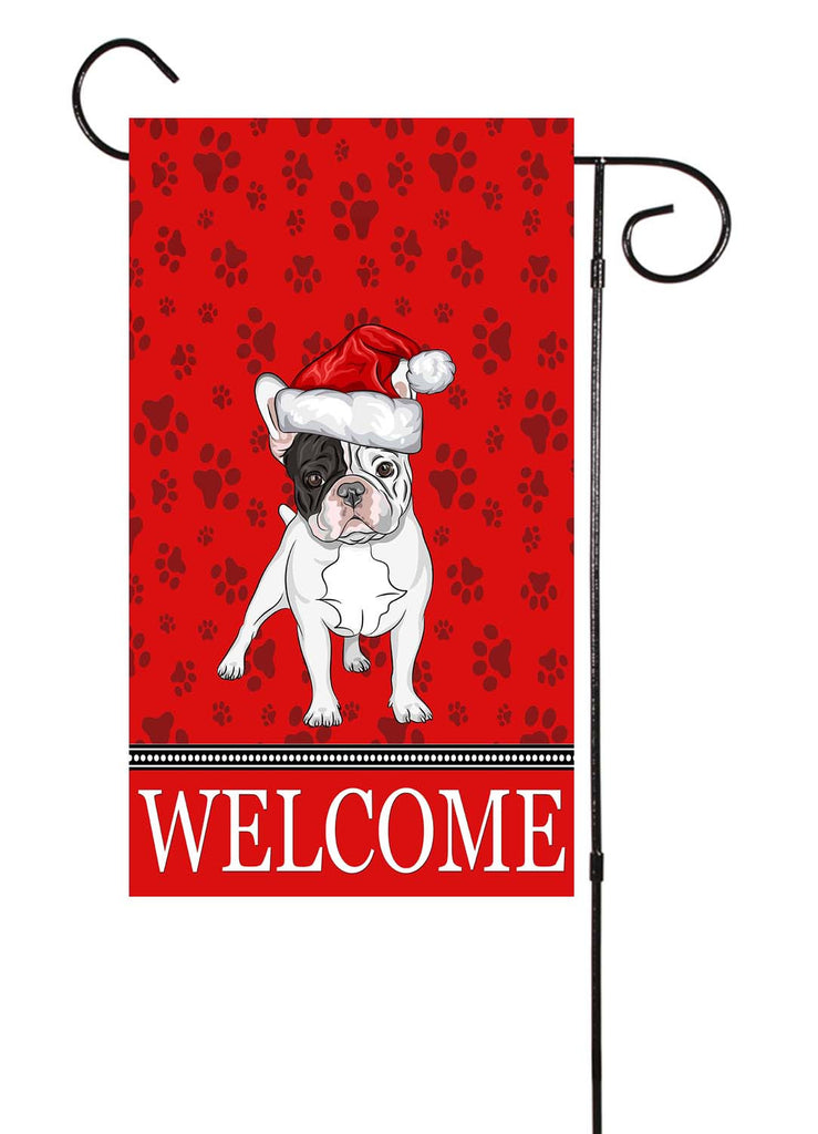 French Bulldog Dog With Santa Hat Garden Flag