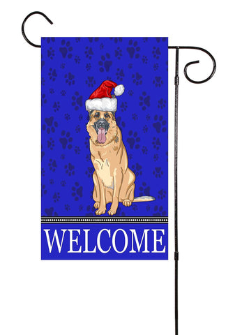 Christmas German Shepard Dog Garden Flag