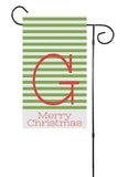 Red and Green Stripes Christmas Initial  Flag