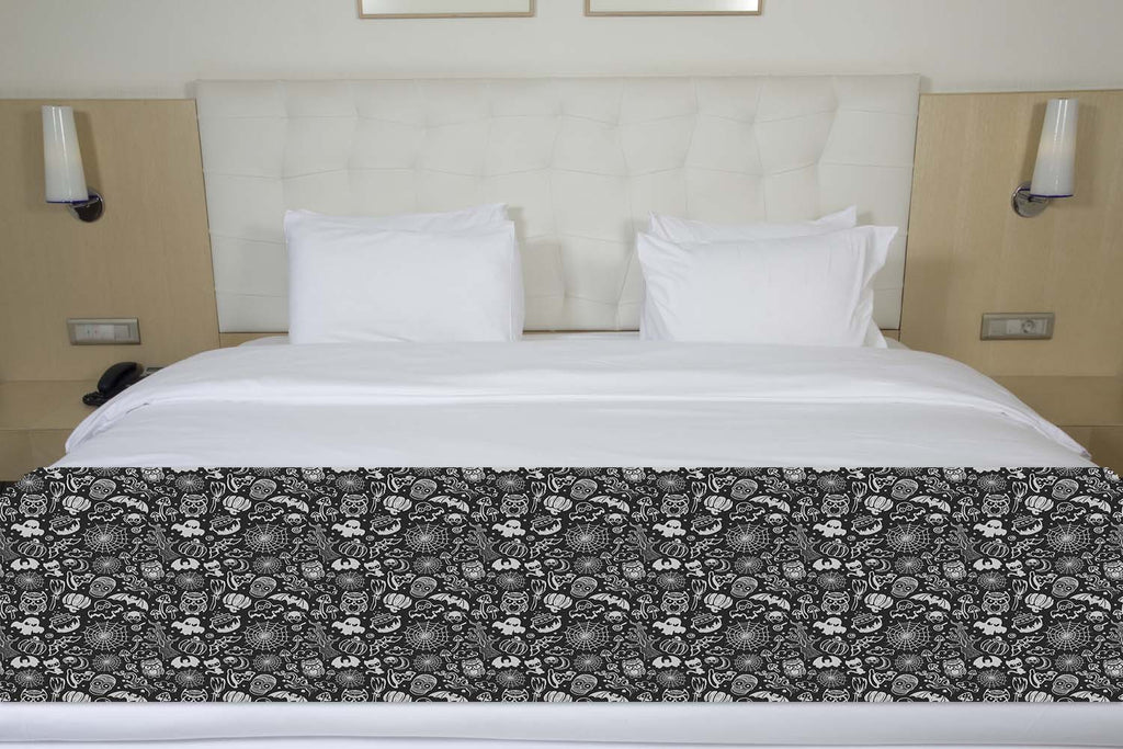 Ghosts, Ghouls and Sugar Skulls Halloween Bed Runner