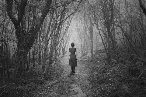 Girl In The Woods Black & White Vinyl Print