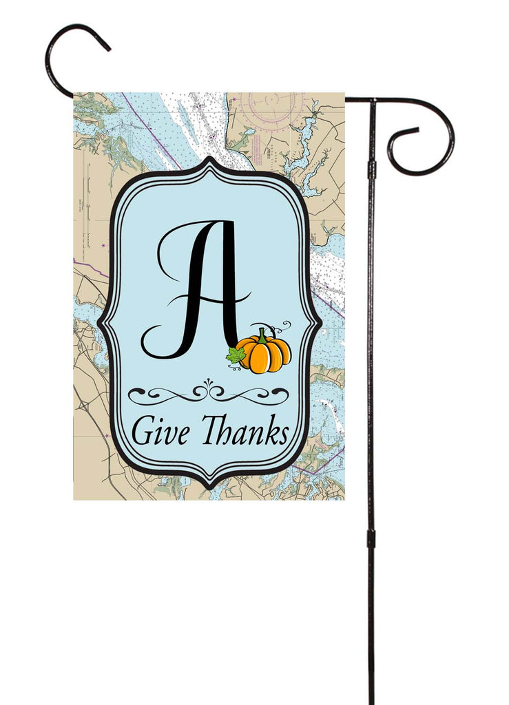 Give Thanks - Thanksgiving Initial Nautical Garden Flag