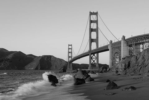 Golden Gate Bridge, San Fransisco, California Black & White Vinyl Print