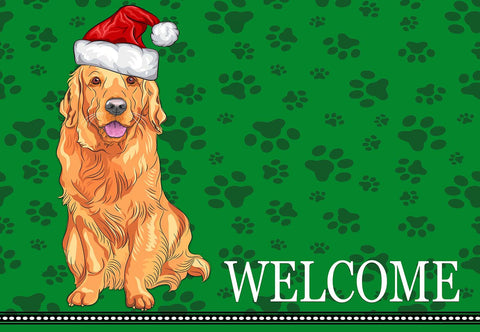 Christmas Golden Retriever Welcome Mat
