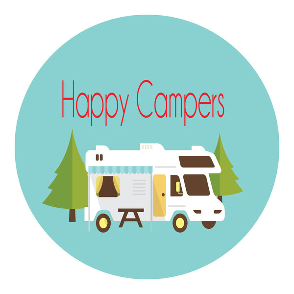 Happy Campers Sticker Shut The Front Door By Unique