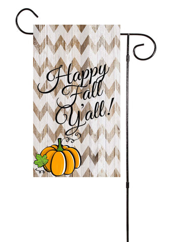 Rustic Wood & Chevron Pumpkin Garden Flag