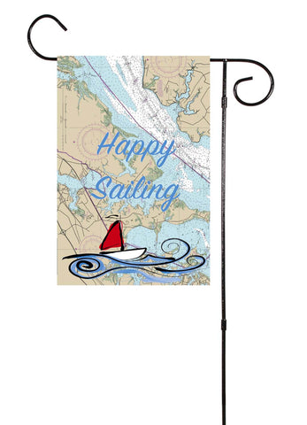 Happy Sailing Nautical Garden Flag