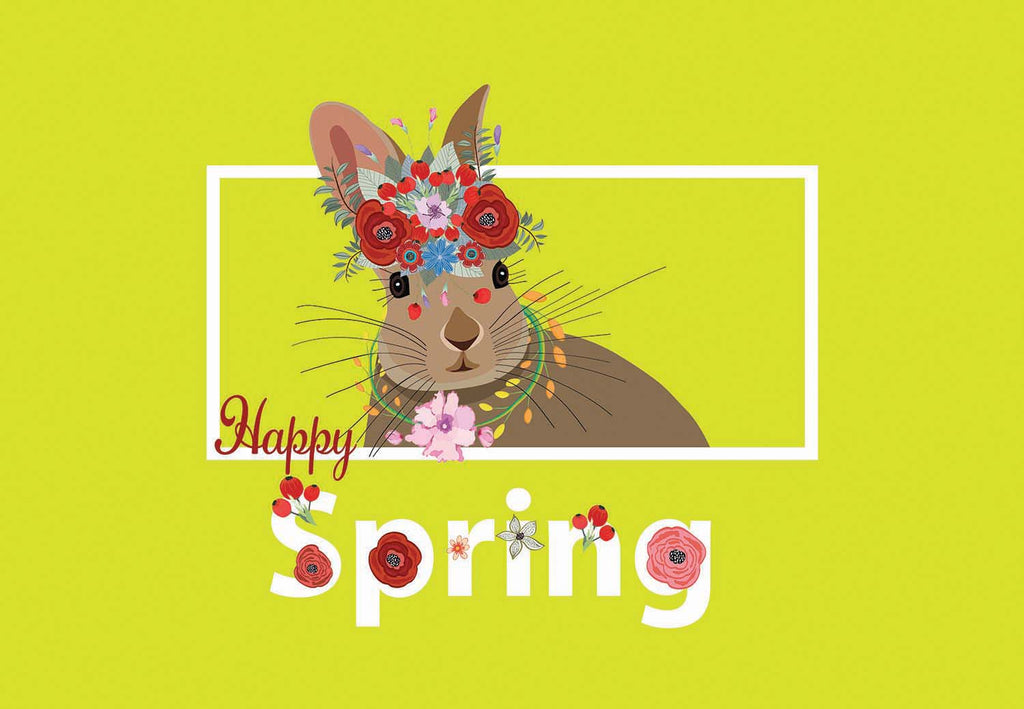 Happy Spring - Floral Bunny Welcome Mat