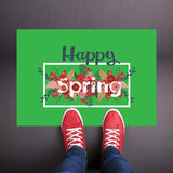 Happy Spring - Floral Green Welcome Mat