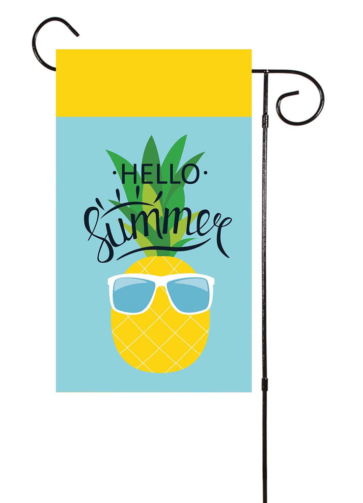 Hello Summer - Pineapple with glasses Garden Flag