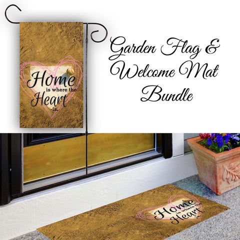Home Is Where The Heart Is - Baseball / Softball Garden Flag & Welcome Mat Bundle