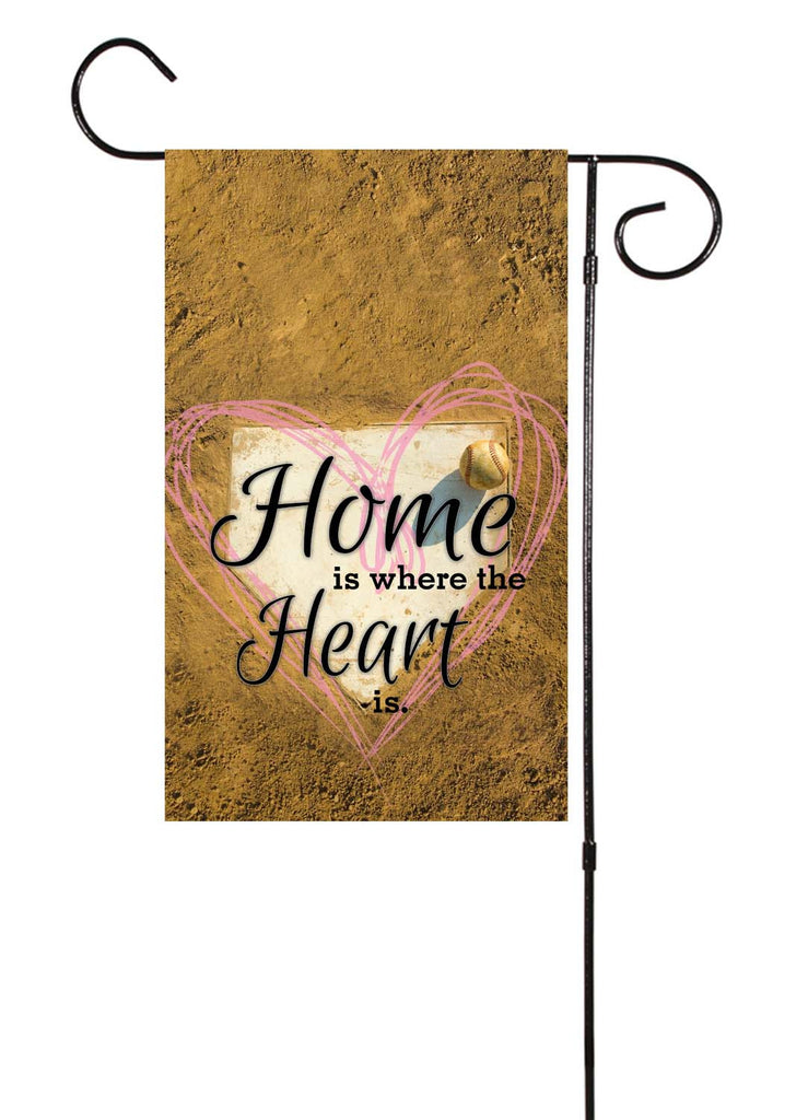 Home Is Where The Heart Is - Baseball/Softball Garden Flag