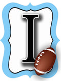 Carolina Blue & White Football Door Hanger