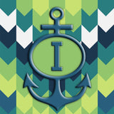 Chevron with Anchor and Initial Square Vinyl Print
