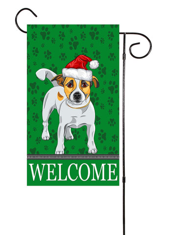 Jack Russell Dog With Santa Hat Garden Flag