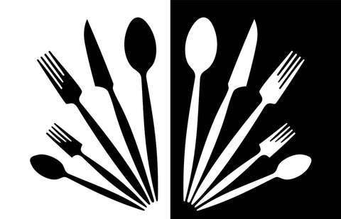 Black & White Kitchen Utensils Vinyl Print