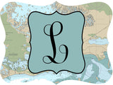 Initial Nautical Map Door Hanger