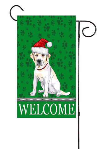 Labrador Retriever With Santa Hat Dog Garden Flag