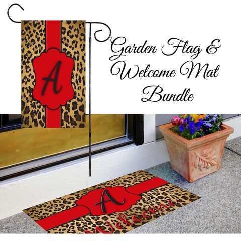 Leopard Print Garden Flag & Welcome Mat Bundle