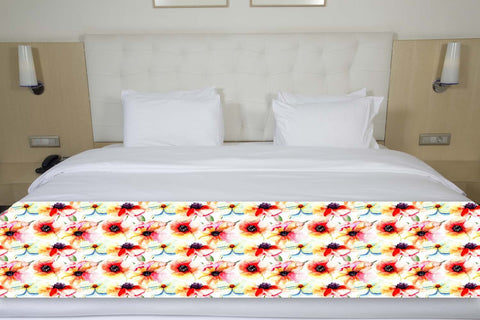 Floral Watercolor Bed Runner