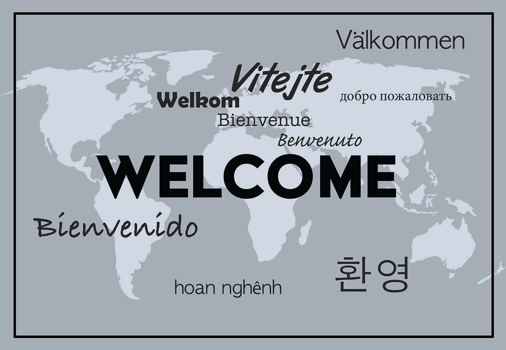Welcome language world map welcome mat shut the front door by welcome language world map welcome mat gumiabroncs Choice Image