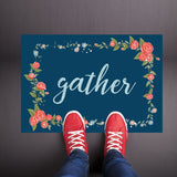 Gather - Blue Floral Welcome Mat