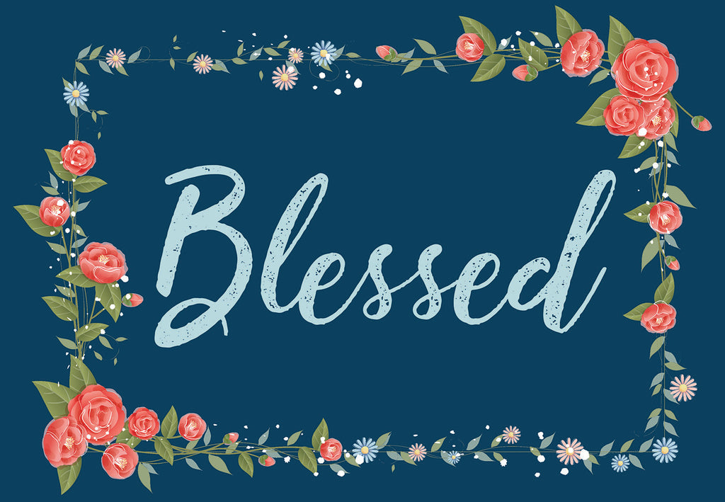 Blessed Blue Floral Welcome Mat
