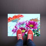 Turquoise Floral Welcome Mat