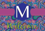 Bold Paisley Initial Welcome Mat