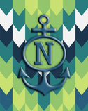 Chevron & Anchor Initial Sailcloth Print