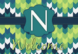 Blue & Green Chevron Initial Welcome Mat