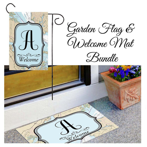 Nautical Print Garden Flag & Welcome Mat Bundle