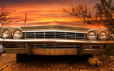 Classic Car In The Sunset Vinyl Print