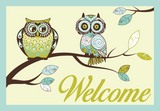 Paisley Owls - Blue Green Yellow Welcome Mat